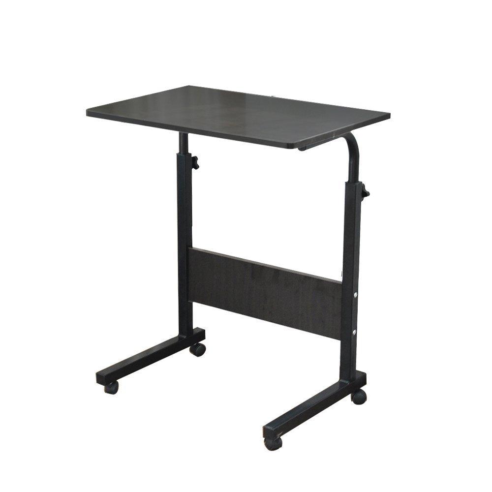 "Soges 23.6"" Adjustable Mobile Lap Table Portable Laptop Computer Stand Desk Cart Tray, Black 05-1-60BK"