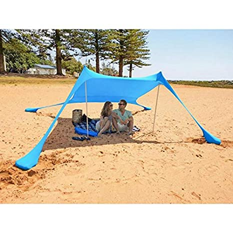 2.1m x 2.1m Parks MENCOM SunShade Portable Canopy Beach Tent with Sandbags Anchors Camping /& Outdoors Picnic 100/% lycra Perfect Sun Shelter with UV protection for Kids /& Family at the Beach