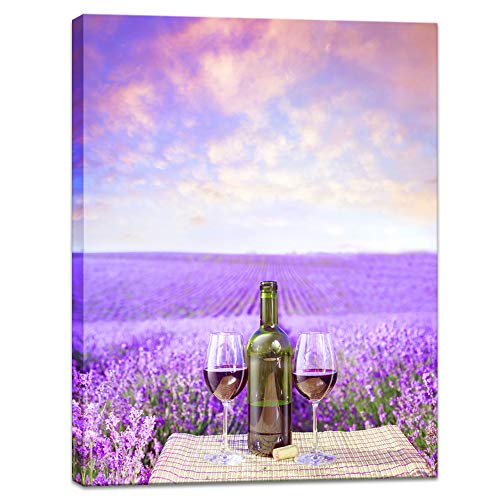 - Innopics Purple Lavender Field Canvas Wall Art Romantic Flower Meadow Poster Print Horizon Landscape Picture Painting Wine Glass Bottle Home Decor Framed for Home Office Living Room Bedroom Decoration