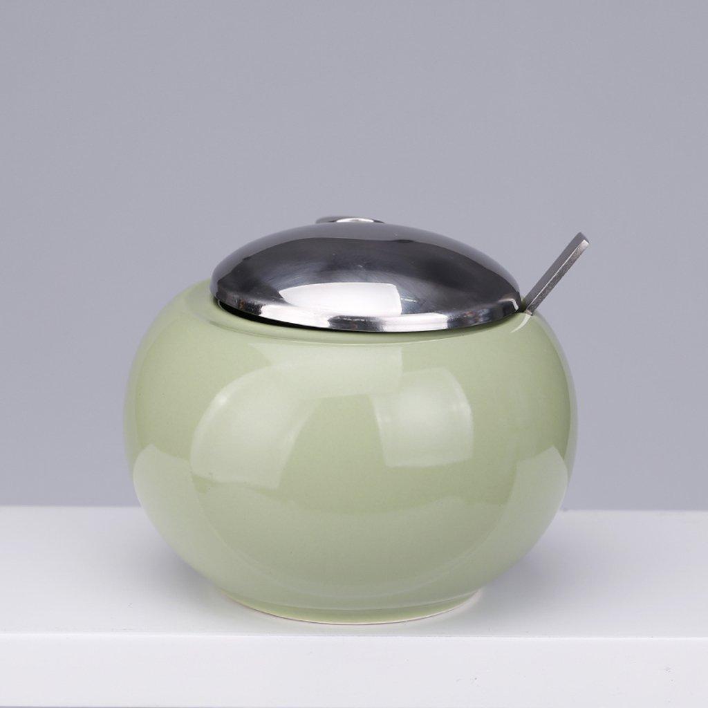 GAODUZI 現代のシンプルな調味料タンククリエイティブセラミック調味料ボトルスプーンで ( 色 : 緑 ) B07BK1WR4Y 緑 緑