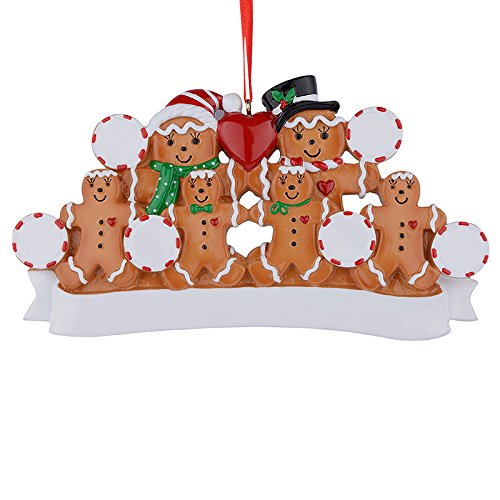 MAXORA Gingerbread Family of 6 Personalized Ornament for Christmas Tree Decoration - Free -