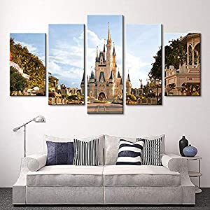 HAIYOUYOU Modern 5 Panel Disneyland Castle Poster Decoration Painting Canvas Print Home Decoration Modular Wall Paintings Wall Art -size2-With Frame