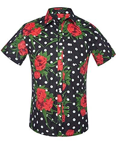 Flower Red Shirts (XI PENG Men's Tropical Short Sleeve Floral Print Beach Aloha Hawaiian Shirt (Black Polka Dot Red Floral, Large))