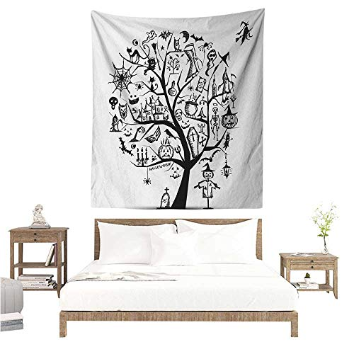Agoza Halloween DIY Tapestry Sketchy Spooky Tree with Spooky Design Objects and Wicked Witch Broom Abstract Occlusion Cloth Painting 51W x 60L INCH Black White]()