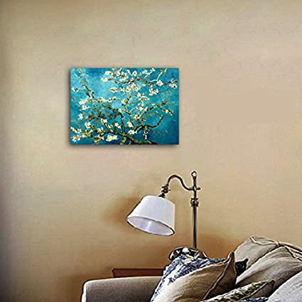 Wieco Art Flowers Paintings Canvas Wall Art for Living Room Bedroom Home Office Decorations Large Almond Blossom by Vincent Van Gogh Classic Impressionist Floral Canvas Pictures Print Artwork
