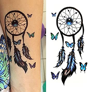 Amazoncom Oottati Small Cute Temporary Tattoo Dream Catcher