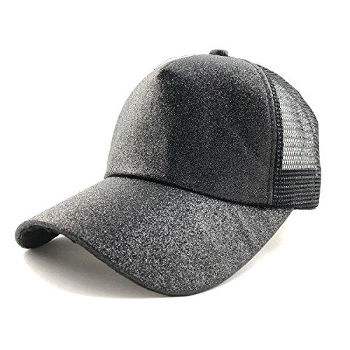 (2018 Ponycap Messy High Bun Ponytail Hat Adjustable Glitter Mesh Trucker Baseball Cap Hat for Women Men -)