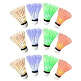 #5: Ohuhu LED Badminton Shuttlecock, Night Lighting Birdies Shuttlecocks Set for Yard Games, Outdoor and Indoor Sports, 12-Pack