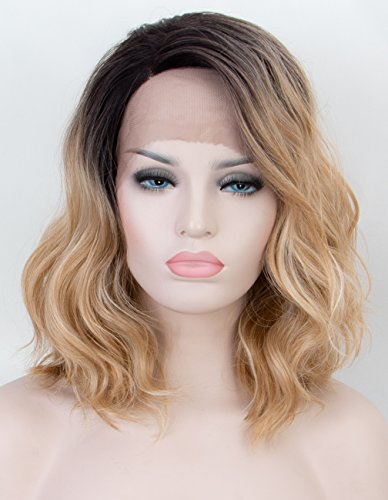 - Persephone Ombre Blonde Lace Front Wig 2 Tones Short Wavy Bob Wigs Synthetic with Dark Roots