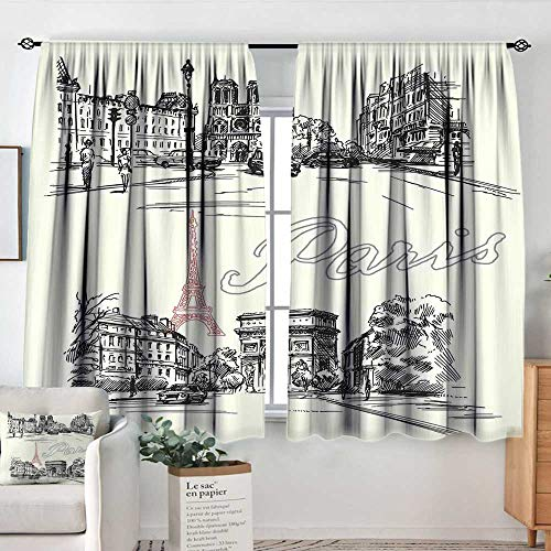 Elliot Dorothy White Curtains Paris Decor,Arch of Triumph Restaurant Monument Old Fashioned Paris Street Sketch Style Art,Decorative Curtains for Living Room and Bedroom 42