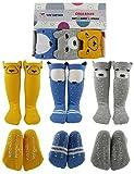Tiny Captain Knee High Long Socks Toddler Anti Slip Non Skid Leg Warmer Walker Best Gifts (Small, Blue, Grey, Yellow)
