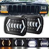 "AMUNIESUN DOT Pair 7x6"" 5x7"" Square LED Halo Headlights with Arrow Angel Eyes DRL Turn Signal H4 Plug for Jeep Wrangler YJ Cherokee XJ Trucks Chevy S10 Sedans GMC H6014 6054 5054 6052 6053"