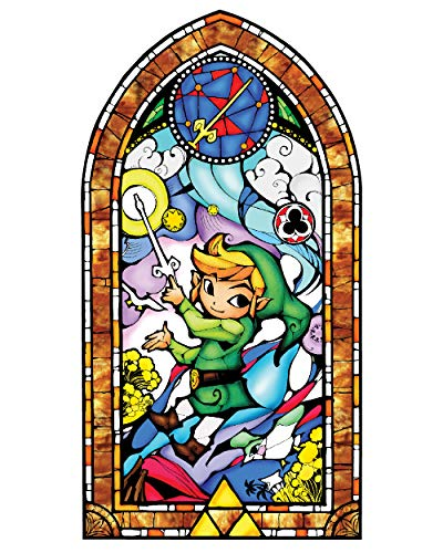 (BLIK Zelda Wind Waker Gold Stained Glass Removable Wall Decal | Officially Licensed Nintendo Art | Easy Peel and Stick Design | 22.5 x 42.5 Inches)