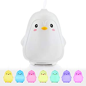 Gifts for Women Girlfriend Teen Girls,GoLine 2019 New Christmas Penguin Small Diffuser for Essential Oil, Cute Mini 100ml Cool Mist Humidifier for Office Bedroom.