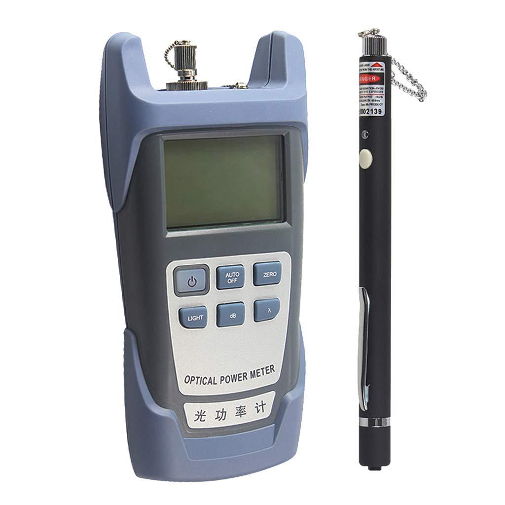 SM SunniMix AUA-9-70dBm~+10dBm 850~1625nm Optical Power Meter Tester FC SC Handheld Optical Power Meter + with 10mW Visual Fault Locator Pen Black by SM SunniMix (Image #1)