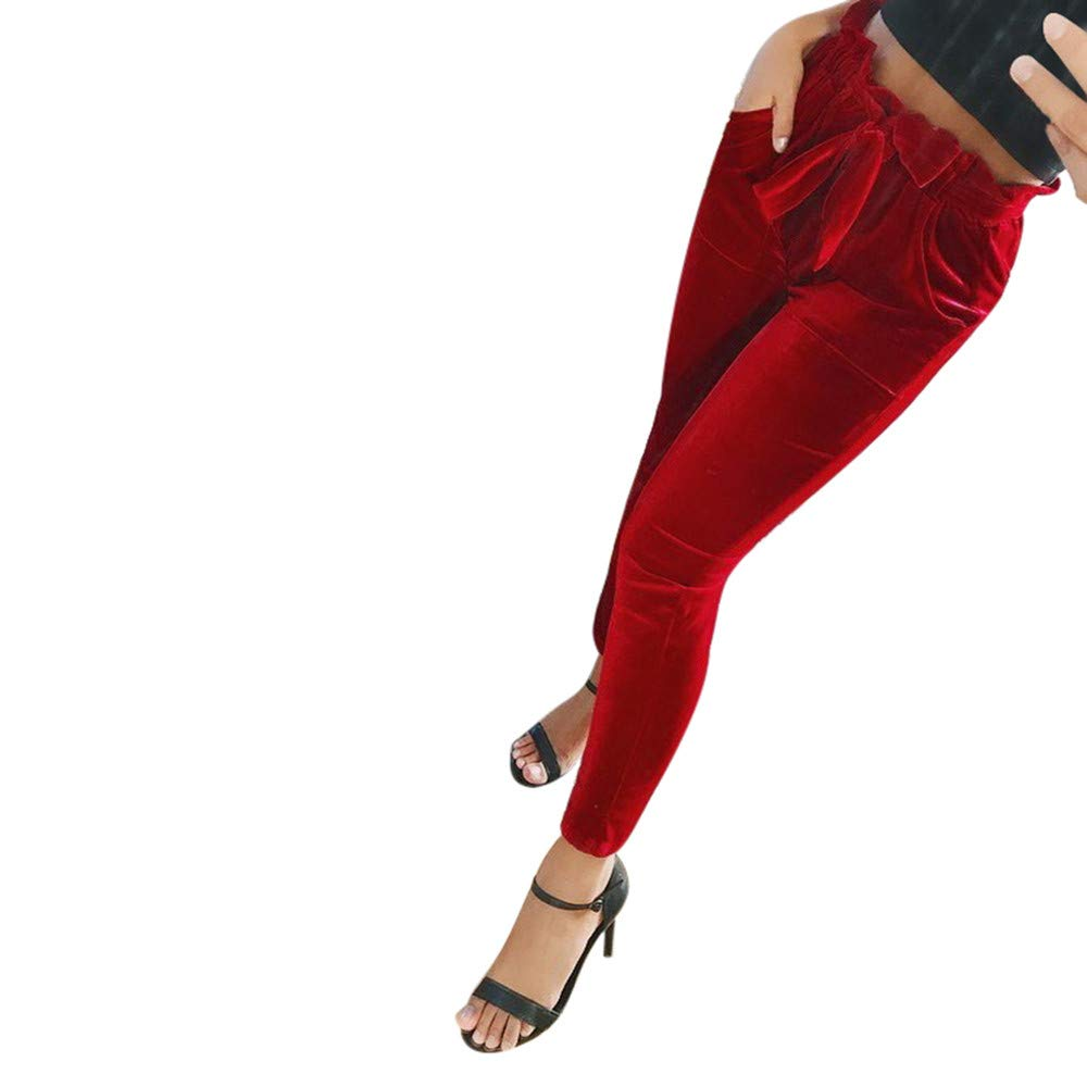 Geetobby Women Strechy Striped Pant Bow Long Slim Casual Pocket Elastic Trousers