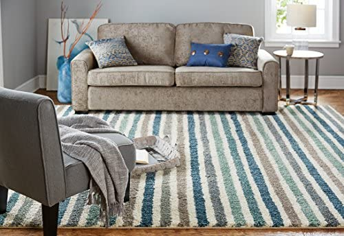 Mohawk Home Blue Boardwalk Stripes Area Rug 8 x10