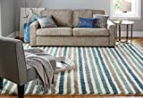 Mohawk Home Laguna Boardwalk Striped Woven Soft Shag Area Rug, 5'x8', Blue and Green