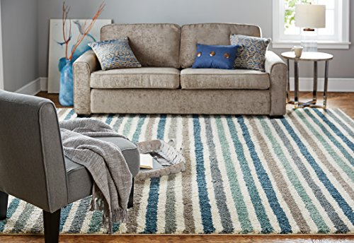 (Mohawk Home Laguna Boardwalk Striped Woven Soft Shag Area Rug, 5'x8', Blue and Green)