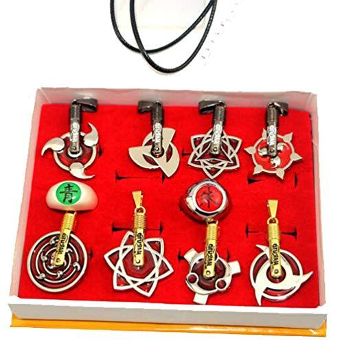 Weeck Anime Naruto Leaf Sharingan Metal Pendant Keychain Necklace Set (4)