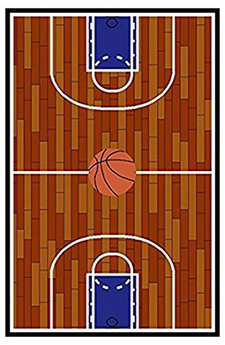 Furnish my Place 690 Rust Basketball Ground Kids Area Rug, 3'3 x 5'