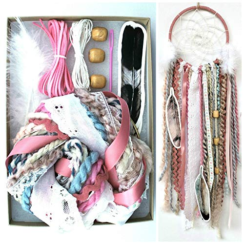 Pink DIY Dream Catcher Kit Craft Project Do It Yourself Stocking Stuffer Christmas Gift for Girls from The House Phoenix