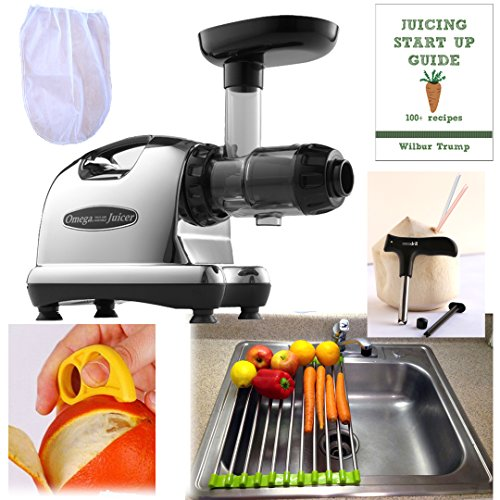 Omega 8006 Juicer + Accessory Pack3! + Folding Drain Rack + Nut Milk Bag + Juicing eBook,recipes + Cocodrill Coconut Tool + Citrus Peeler Nutrition Center by Omega Juicers
