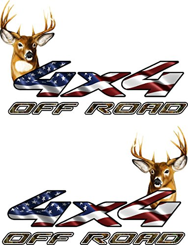avgrafx 4x4 Truck Offroad Decal Cast Vinyl 10 yr Flag Whitetail Deer Laminated 13x9 Inches