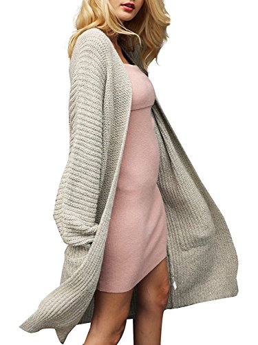 Apricot Wool - BerryGo Women's Casual Open Front Loose Knit Wool Cardigan Sweater with Pockets Apricot,One Size
