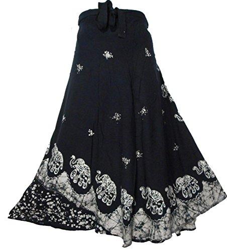 Decoraapparel Batik Wrap Around Skirts African Wax Print Women's Flared Skirt Cotton Maxi Bright - Cotton Batik Wrap