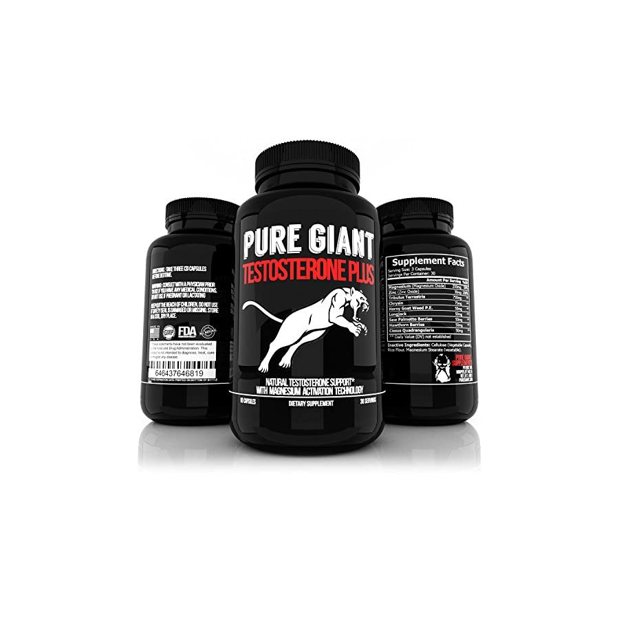 Pure Giant Testosterone Booster for Men Supplement Testosterone Booster For Men Energy, Libido, and Muscle Growth 90 Pills USA