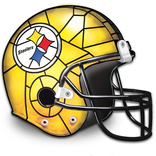 The Pittsburgh Steelers Louis Comfort Tiffany-Style Accent Lamp by The Bradford - State Table Stained Glass Game