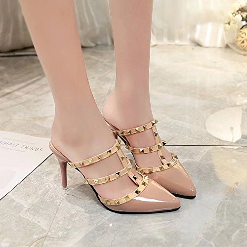 Women'S With Shallow Fashion Slippers Sandals Summer'S slippers women Pink With Rivets And WHLShoes Mouth Fine xqfIzyt