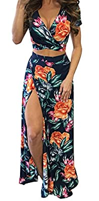Bigyonger Women's Crop Top Maxi Skirt Set 2 Piece Outfit Bandage Nightclub Dress