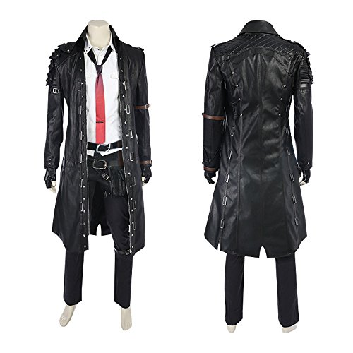 VOSTE Winner Winner Chicken Dinner Waist Bag Pan Warrior Shirt PU Coat Cosplay Costume accessories Long Jacket (Custom-Made, Jacket) by VOSTE