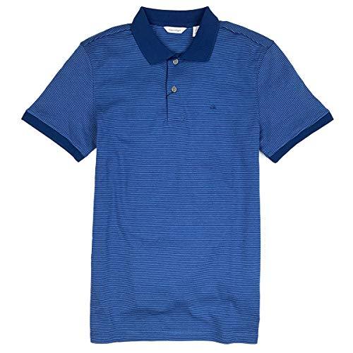 Calvin Klein Men's Short Sleeve Soft Touch Striped Polo Shirt (Dark Indigo/Blue, - Shirt Polo Calvin Klein Striped