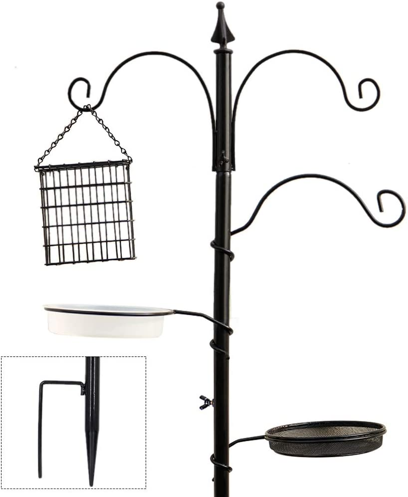 "yosager Premium Bird Feeding Station Kit, 72"" x 21"" Bird Feeder Pole, A Multi Feeder Hanging Kit with Metal Suet and Bird Bath for Attracting Wild Birds, Birdfeeder and Planter Hanger"