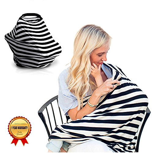 Zebra Stroller Blanket (Larvin Torria Stretchy Nursing Breastfeeding Cover Scarf – Multi Purpose Baby Car Seat Canopy, Shopping Cart, Stroller Blanket, Car seat Covers for Child)
