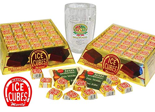 Albert's Chocolate Ice Cubes 125 Count Gold Gift Tray - 2 Trays + Beerstein Mug ()