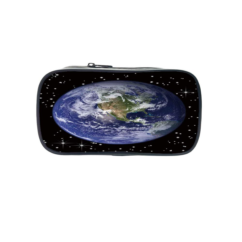 Polychromatic OptionalPen Bag,Earth,North America Stars and The Moon from an Astronaut Eye Galaxy Outer Space Theme,Black Blue Green,for Kids,Diversified Design
