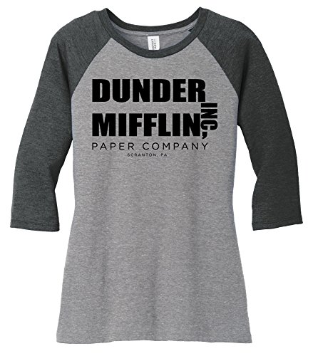 Comical Shirt Ladies Dunder Mifflin Paper Company Funny TV Show Shirt Black Frost/Grey Frost - Ladies Show Shirt