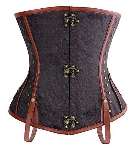 (Charmian Women's Steampunk Vintage Brocade Underbust Waist Training Corset Top Brown)