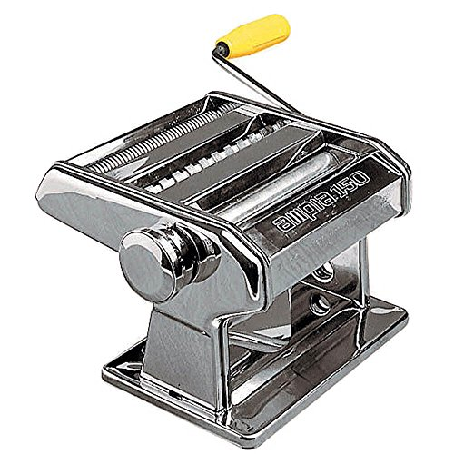Marcato Atlas Ampia Pasta Machine, Made in Italy, Chrome Plated Steel, Silver, Includes Pasta Cutter, Hand Crank, and Instructions by Marcato