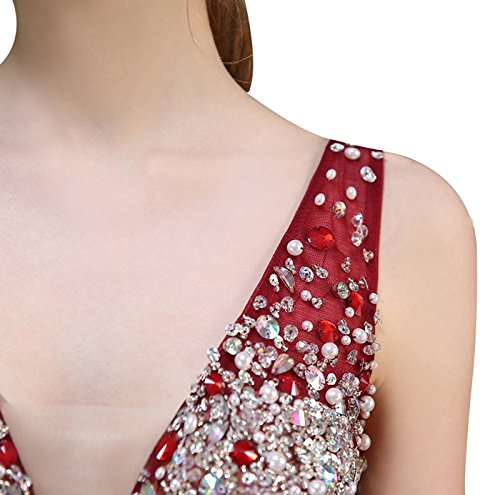 Perles De Femmes Col V Robe De Soirée En Tulle De Dos Nu Maxi Bourgogne De Robes De Mariée
