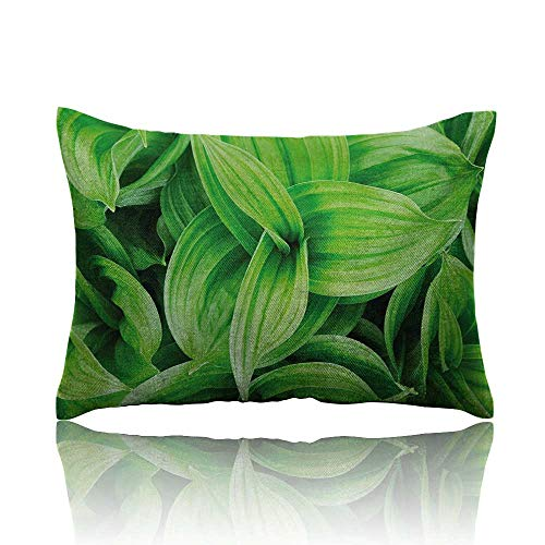 homehot Plant Small Pillowcase Close-up Beautiful Tropic Foliage Pattern Helleborus Leaves Natural Herbs Wildflowers Zipper Pillowcase 13