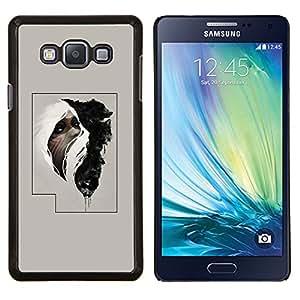 KLONGSHOP // Cubierta de piel con cierre a presión Shell trasero duro de goma Protección Caso - Hombre tribal cartel misterioso - Samsung Galaxy A7 A7000 //