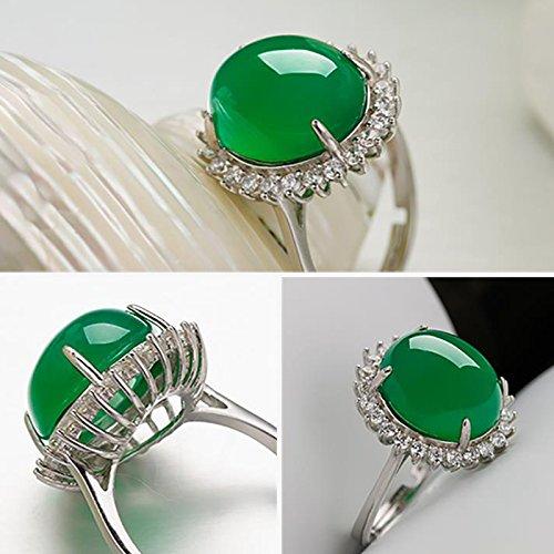 avec Un Sac de Bijoux AIUIN 1pcs Anneau DArgent Taille R/églable Jade Vert Bague douverture Bijoux et Accessoires