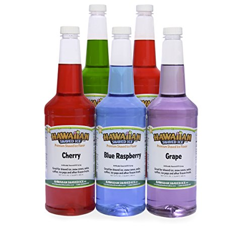 Hawaiian Shaved Ice 5 Flavor Ready-to-Use Quart Package | Features Cherry, Grape, Blue Raspberry, Tiger's Blood, & Lemon-Lime Snow Cone Syrup