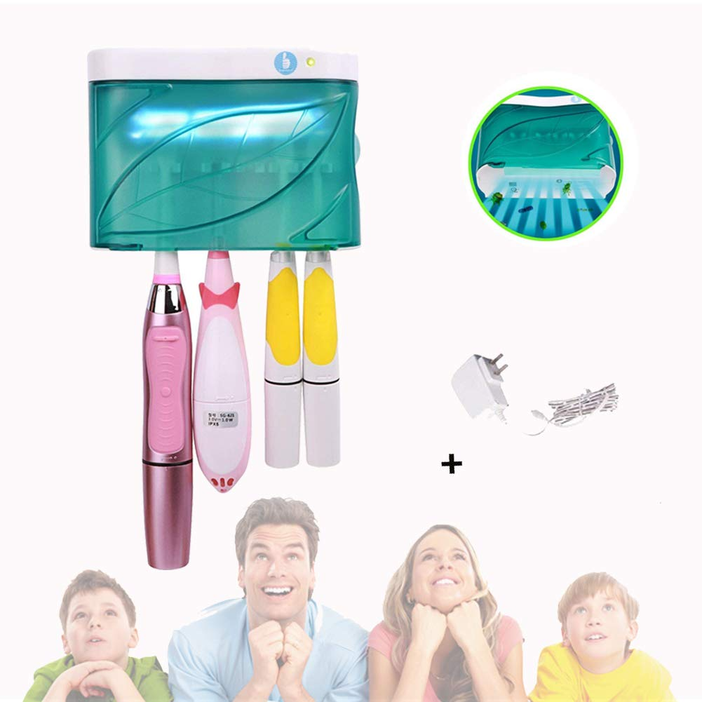 UV Toothbrush Holder Wall Mount Family Toothbrush Sanitizer Auto Shut-off 6-8 Minutes with AC Adapter