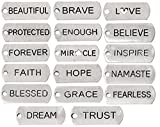 Inspirational Message Charm Pendants, Silver Tone (100 Random Pieces)